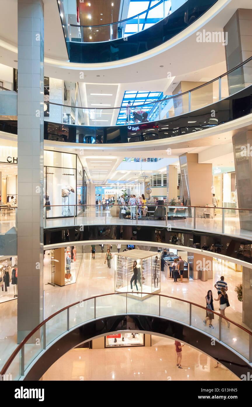 Interior atrium of Westfield Shopping Centre, Bondi Junction, Sydney, New South Wales, Australia - Stock Image