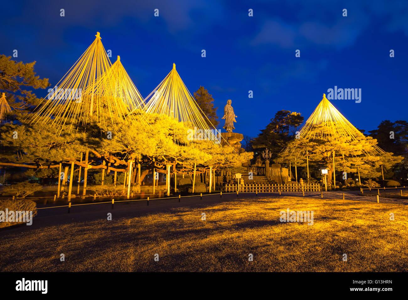 Night at Kenroku-en Garden in Kanazawa, Japan. - Stock Image
