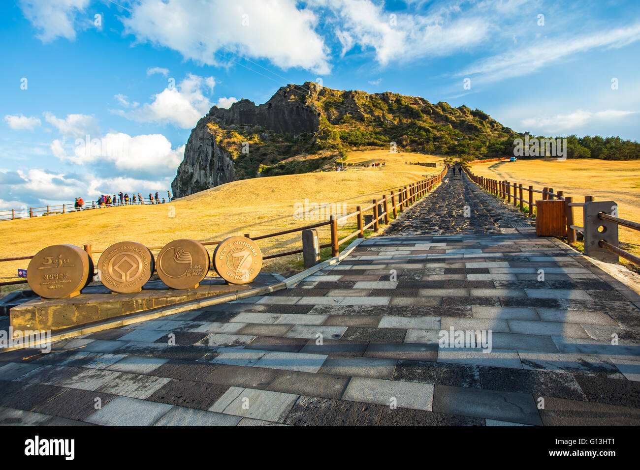 View of Seongsan Ilchulbong moutain in Jeju Island, South Korea. - Stock Image