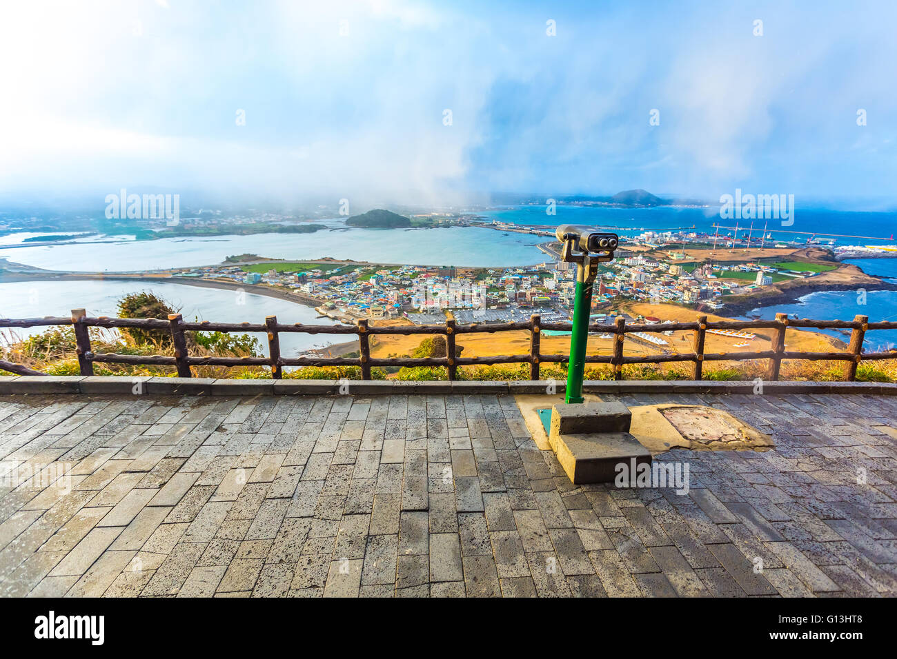 View from Seongsan Ilchulbong moutain in Jeju Island, South Korea. Stock Photo