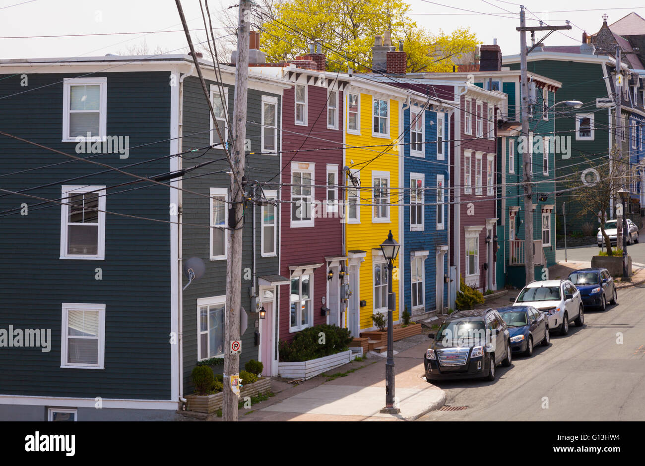 colourful row houses jellybean row in downtown st john. Black Bedroom Furniture Sets. Home Design Ideas