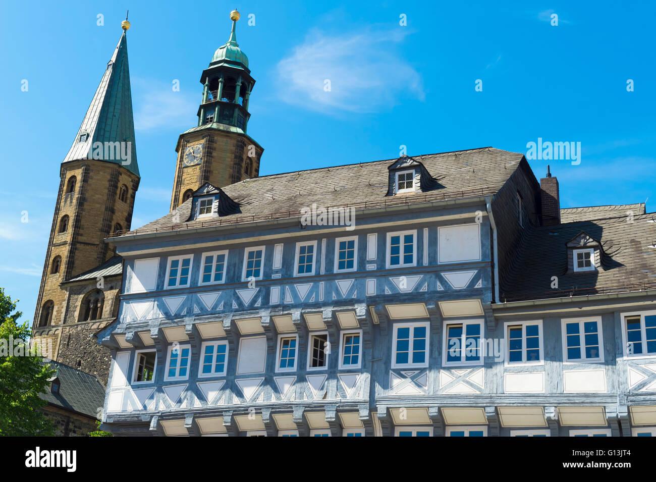 Half-timbered houses and Market Church St. Cosmas and Damian, Goslar, Harz, Lower Saxony, Germany, Unesco World - Stock Image