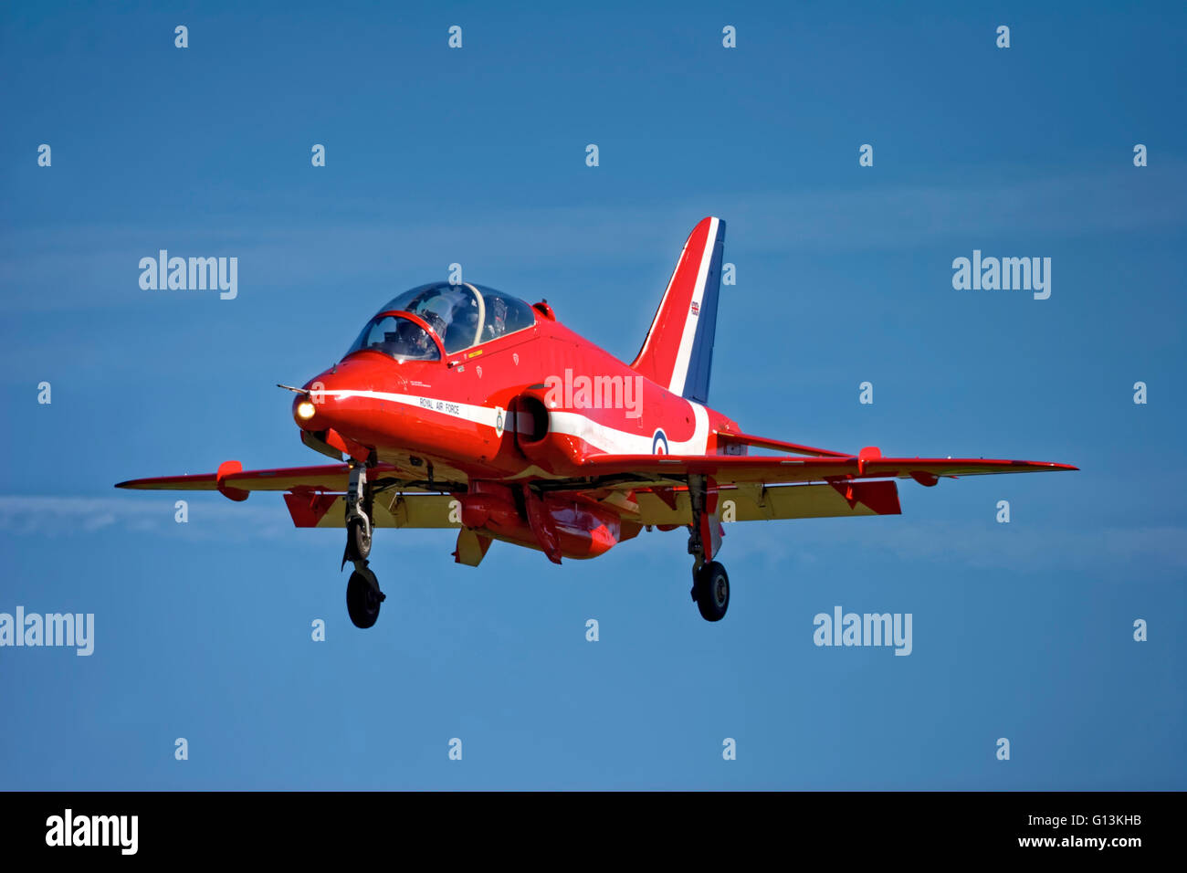 A Red Arrows Aerobatic Team BAE Systems Hawk T1 on finals to land at the Royal Naval Air Station Yeovilton Air Day,Somerset, - Stock Image