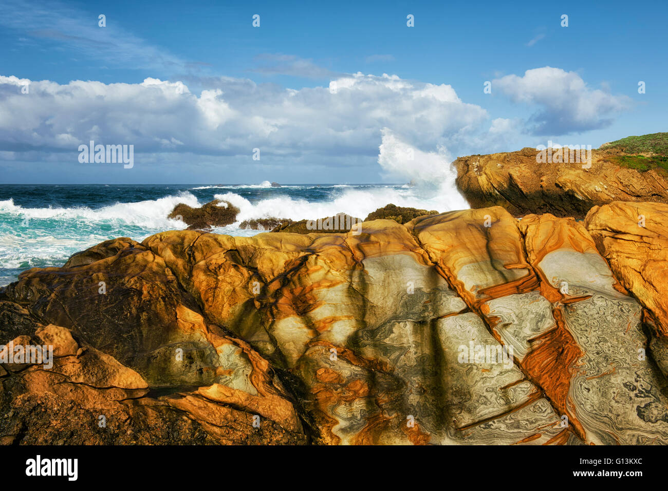 Mosaic patterns on the sandstone cliffs and crashing waves at Point Lobos State Natural Reserve and California's - Stock Image