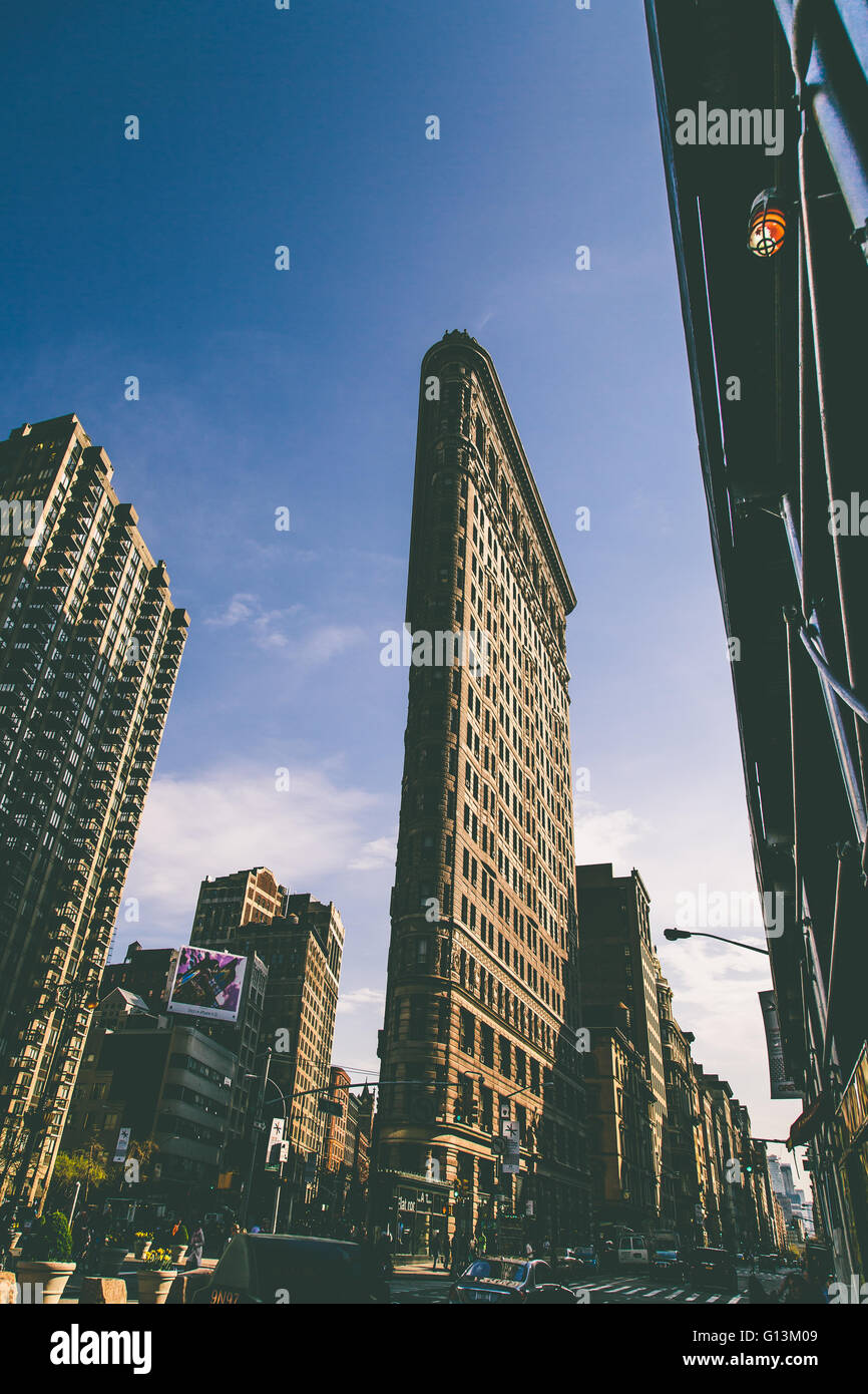 NEW YORK, USA - MAY 4, 2016: Flat Iron building facade in New York City. Completed in 1902, it is considered to - Stock Image