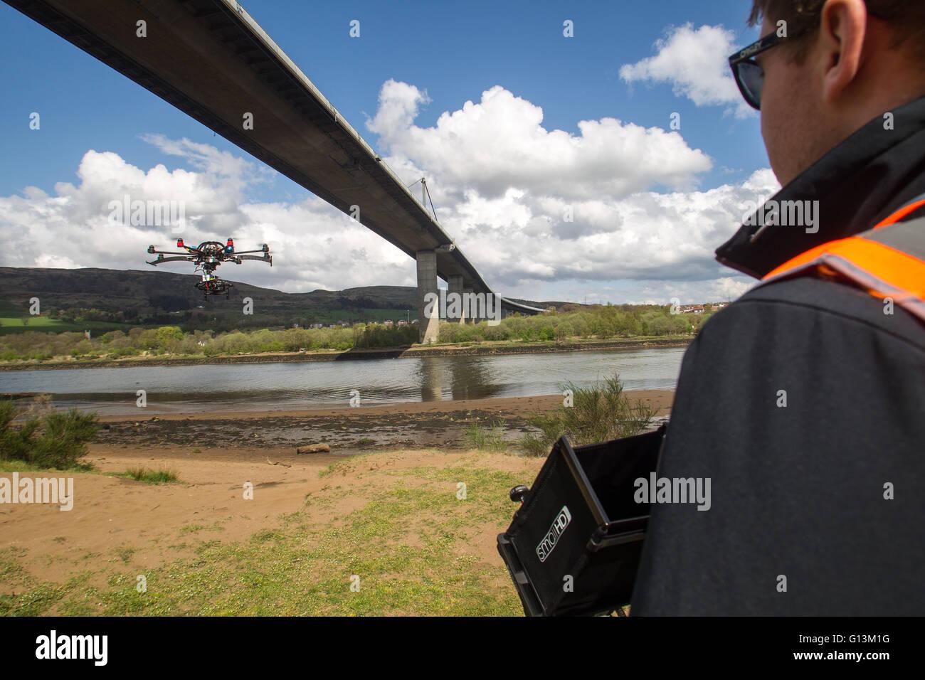 Drone flying next to Erskine Bridge Stock Photo