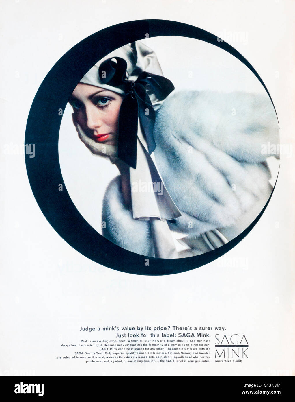 1960s magazine advertisement advertising Saga Mink furs. - Stock Image