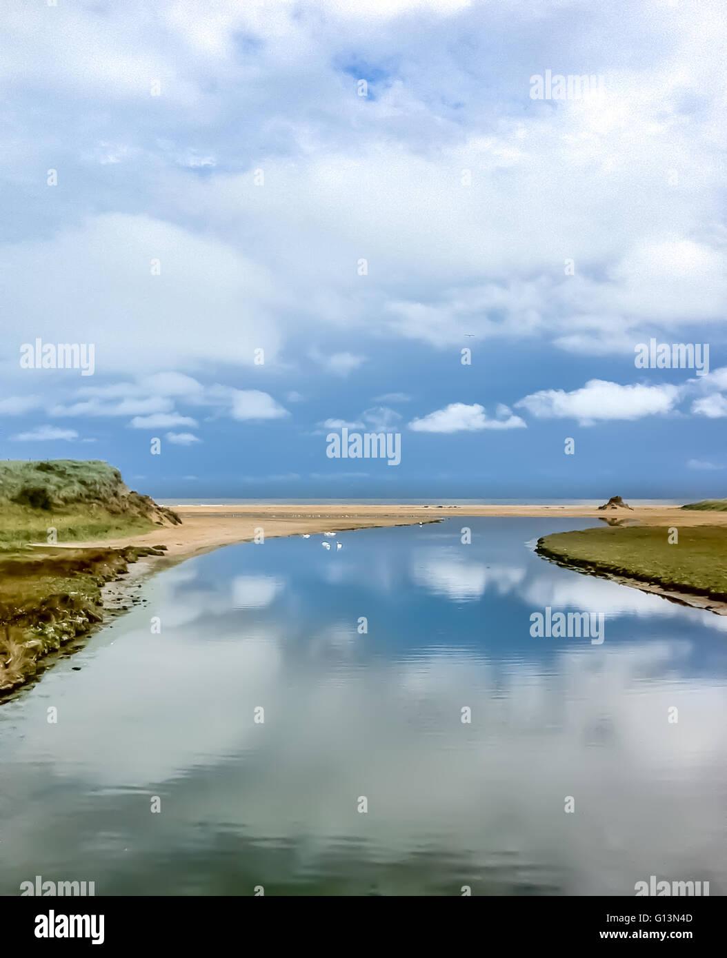 The Long Nanny Burn, Beadnell Bay, Northumberland Stock Photo