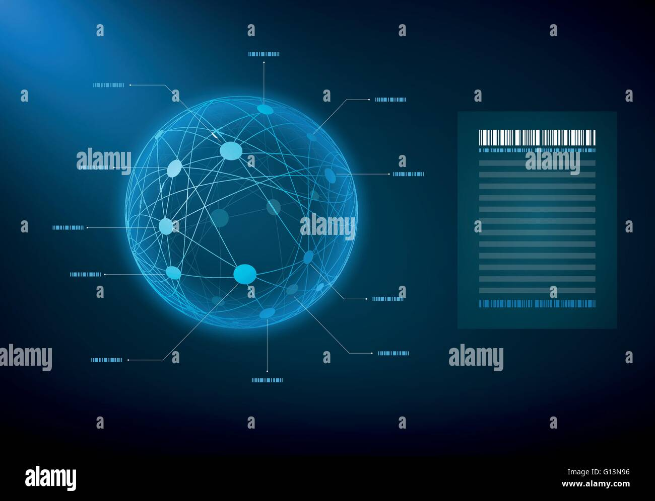 Infographic sphere with connected dots and lines. Elements are layered separately in vector file. Stock Vector
