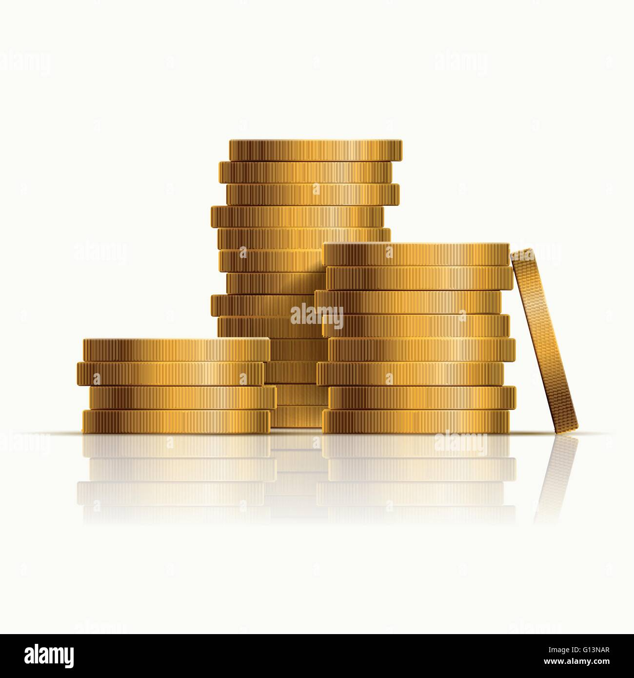 Vector stacked golden coins. Vector illustration. - Stock Image