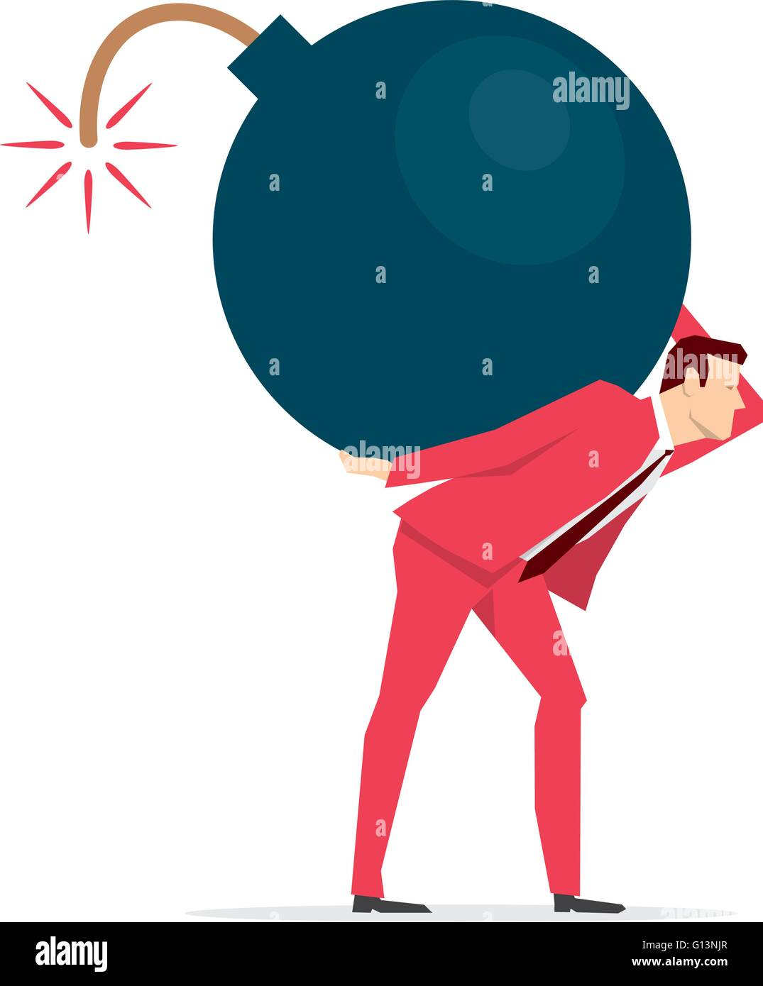 Red suit businessman carrying a big bomb.. Vector concept illustration. - Stock Vector