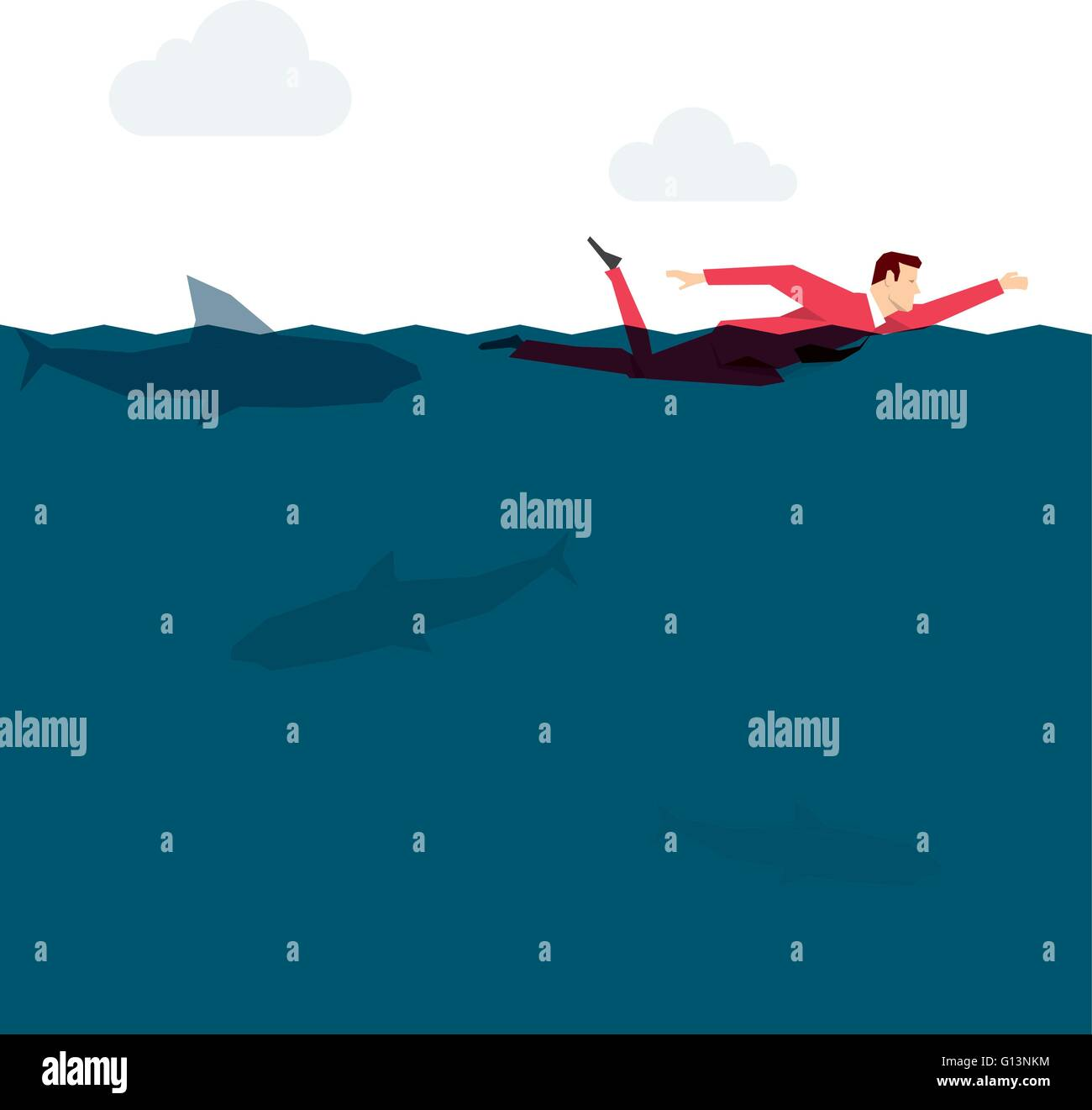 Red suit businessman in the ocean. Vector concept illustration. - Stock Image
