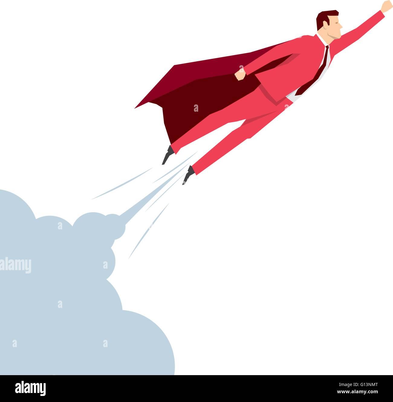 Red suit businessman. Super hero. Vector concept illustration. - Stock Vector