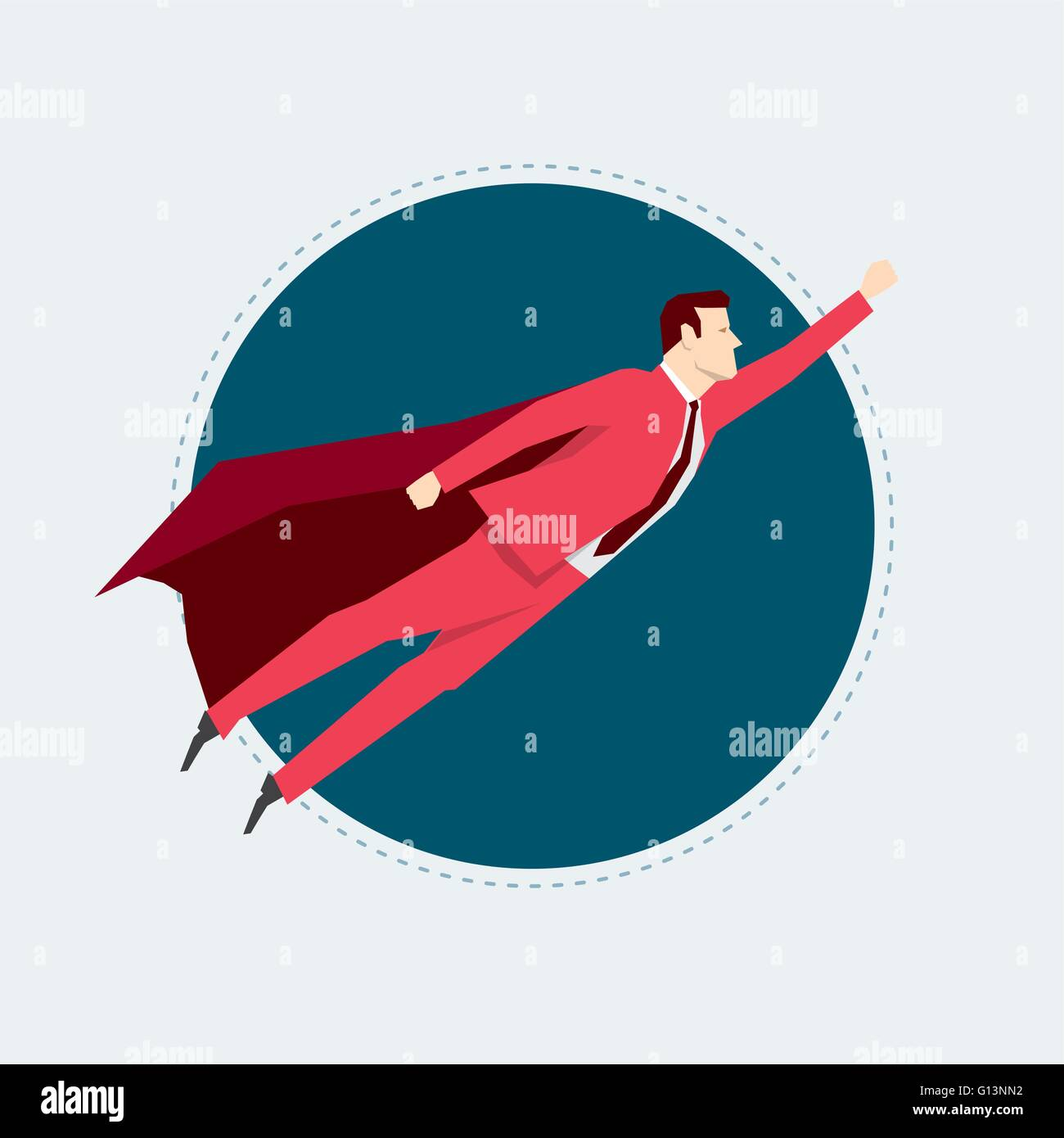 Businessman in red suit. Super hero. Flat style vector illustration. - Stock Vector