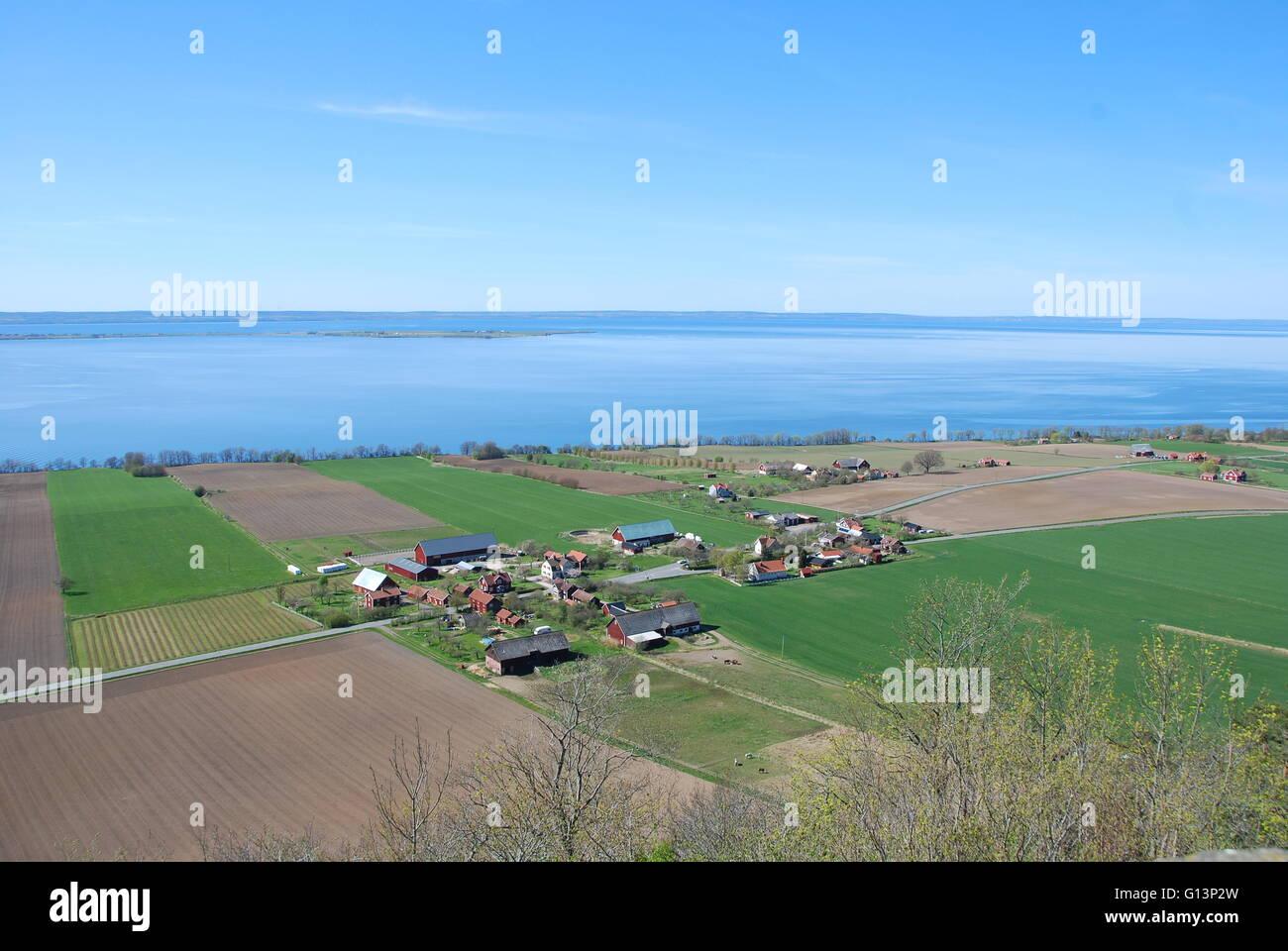 Swedish farmland, by the lake Vättern - Stock Image
