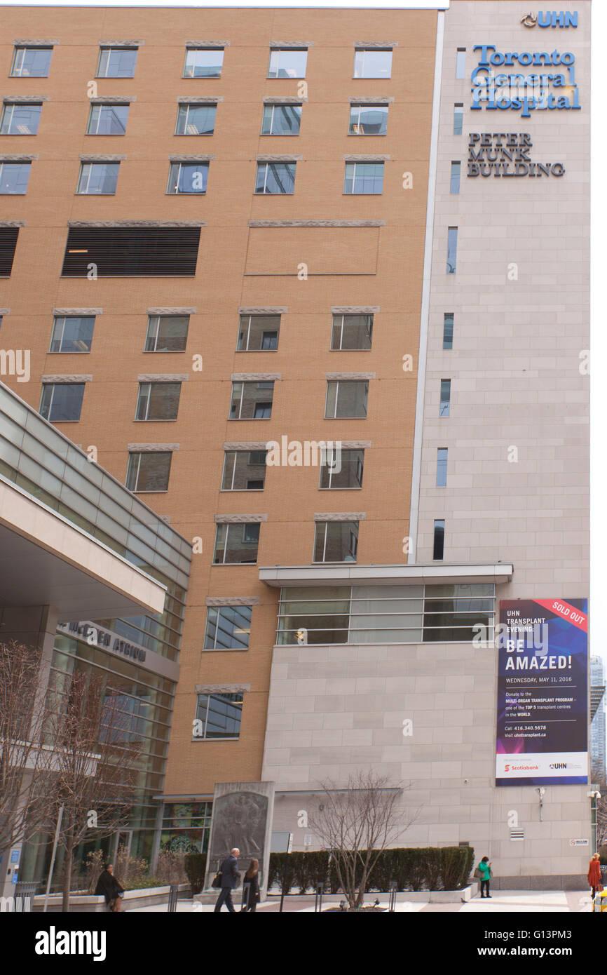 TORONTO - APRIL 28, 2016: The Toronto General Hospital, is a major teaching hospital in downtown Toronto, Ontario, - Stock Image