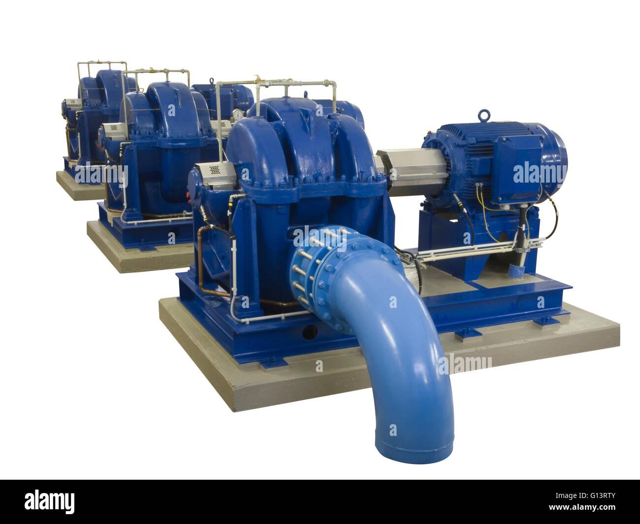Blue industrial pump with electric motor on concrete base isolated on white background Stock Photo