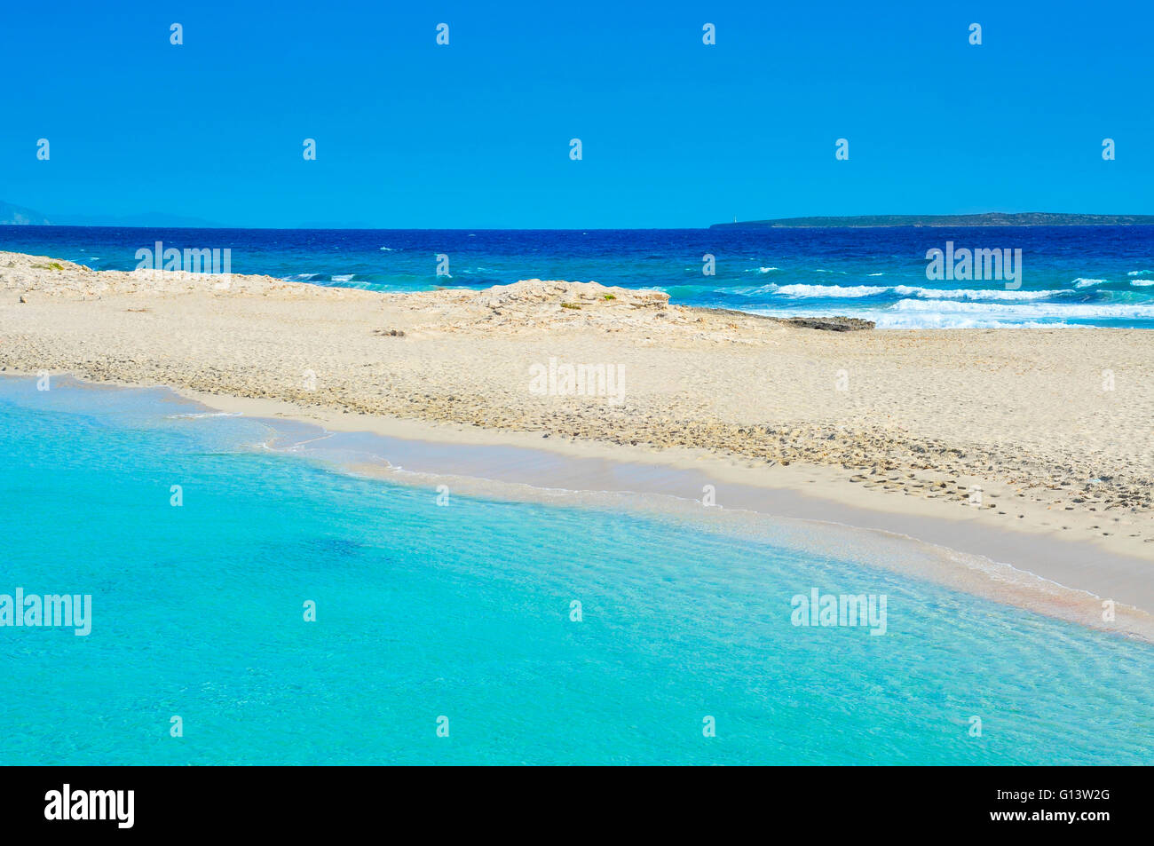 view of Ses Illetes Beach in Formentera, Balearic Islands, Spain - Stock Image