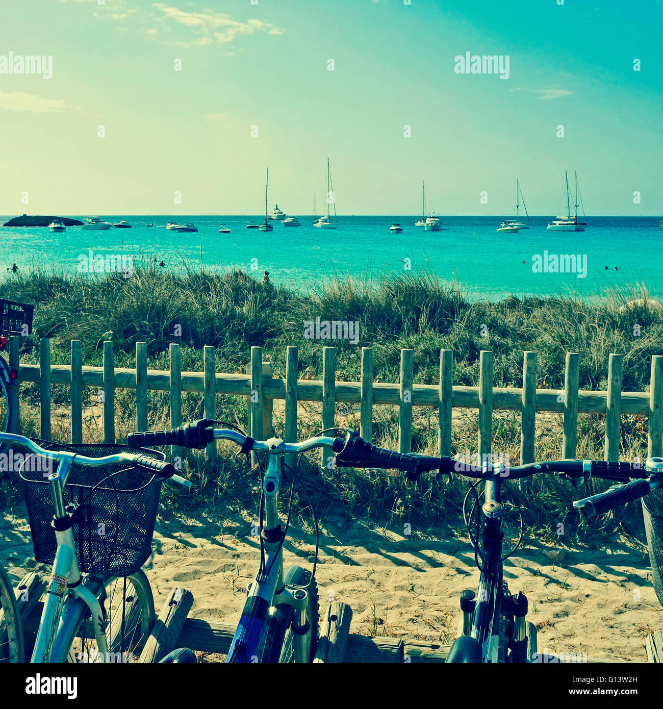 Ses Illetes Beach in Formentera, Balearic Islands, Spain, with a retro effect - Stock Image