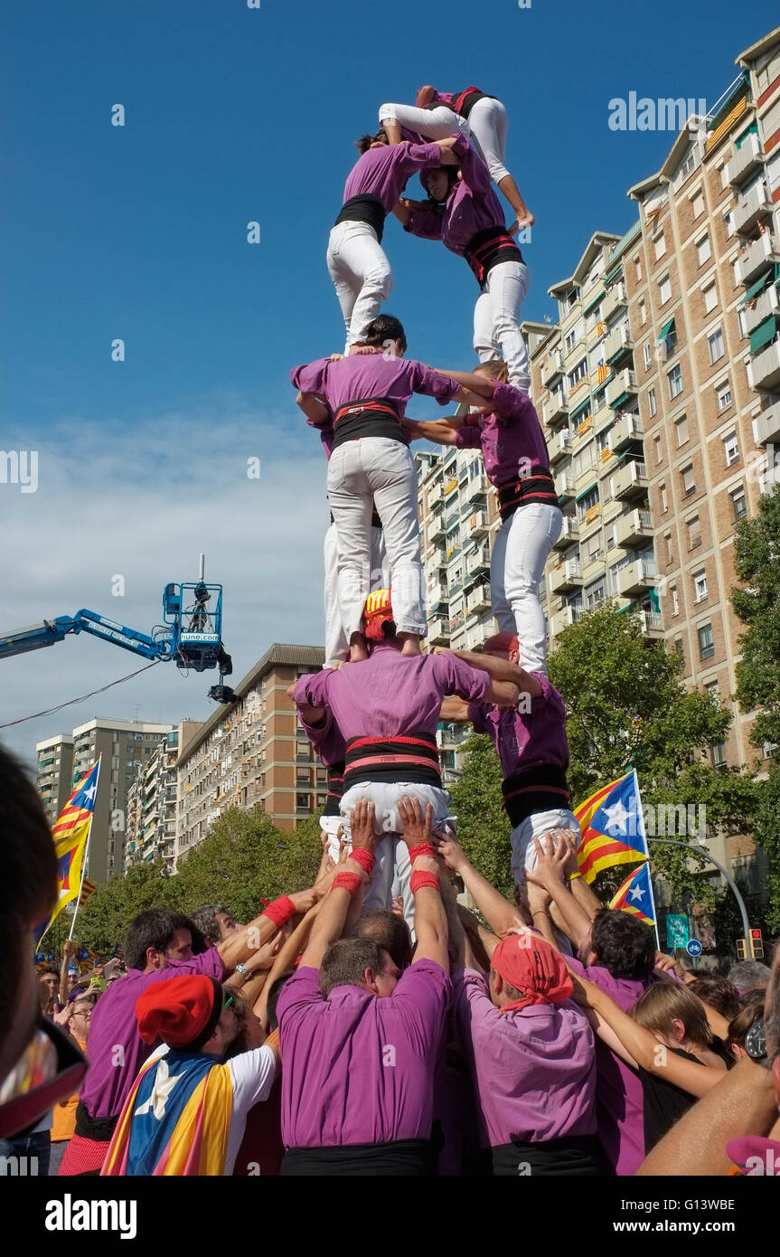 castellers , in barcelona city - Stock Image