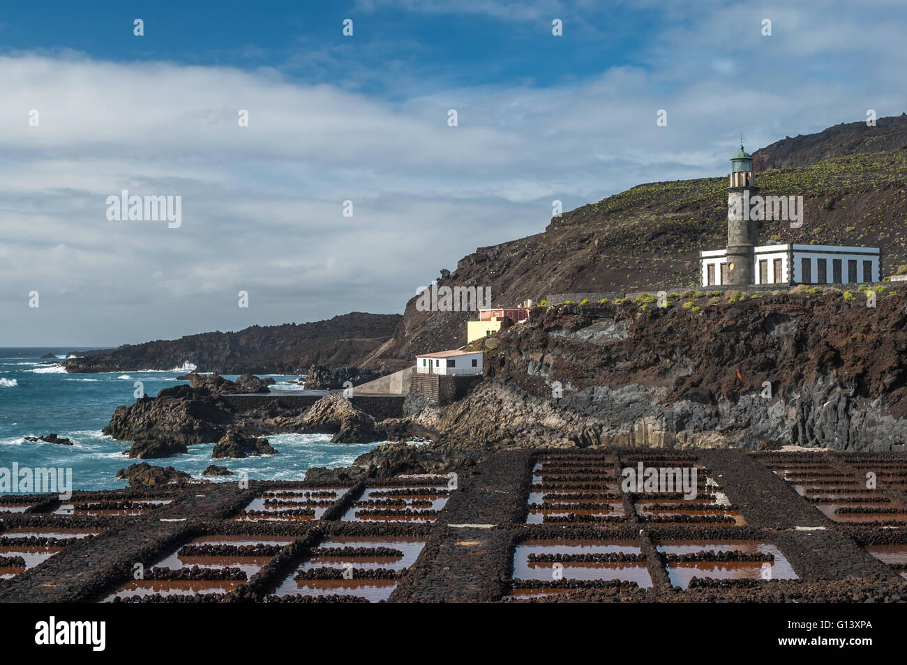 Saltpans and lighthouse of Punta en Faro, Fuencaliente in the south of the island La Palma, Canary Islands, Spain Stock Photo
