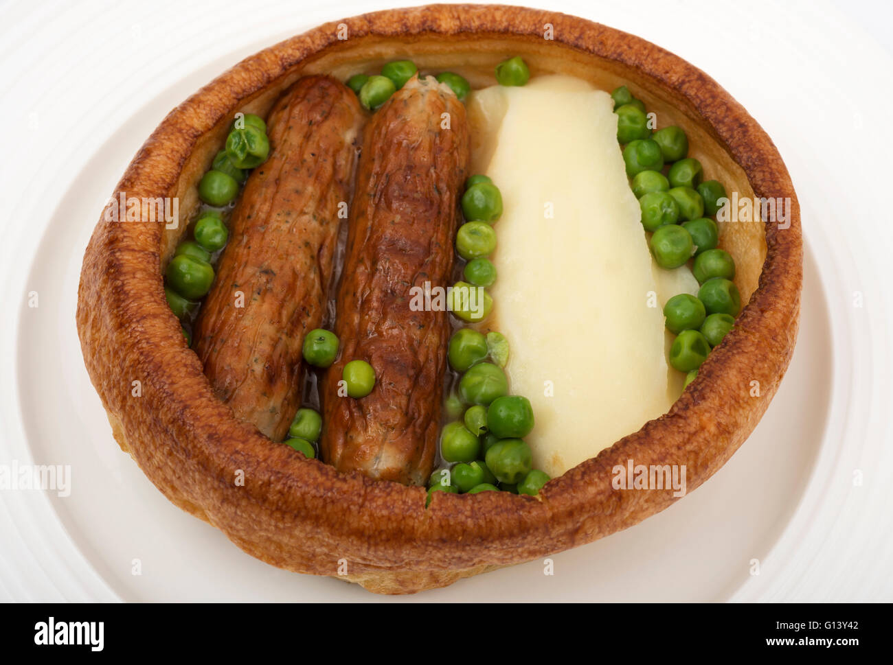 Traditional British  'Toad in the Hole' meal - Stock Image