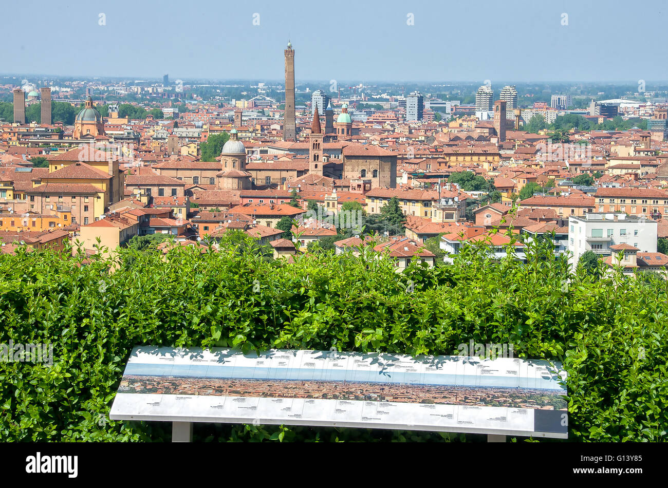 Bologna tour aerial view sightsee emilia romagna - Stock Image