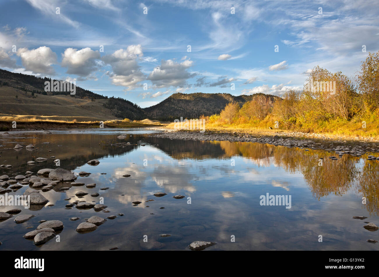 WY01648-00...WYOMING - Clouds reflecting in Slough Creek in Yellowstone National Park. - Stock Image