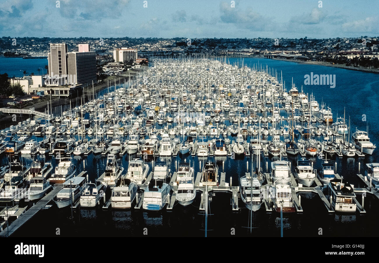 The Shelter Island Yacht Basin is home to hundreds of pleasure craft belonging to boaters in San Diego, California, - Stock Image