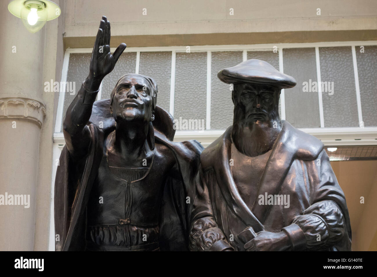 Statues of Faust and Mephisto in Auerbachs Keller, Leipzig - Stock Image