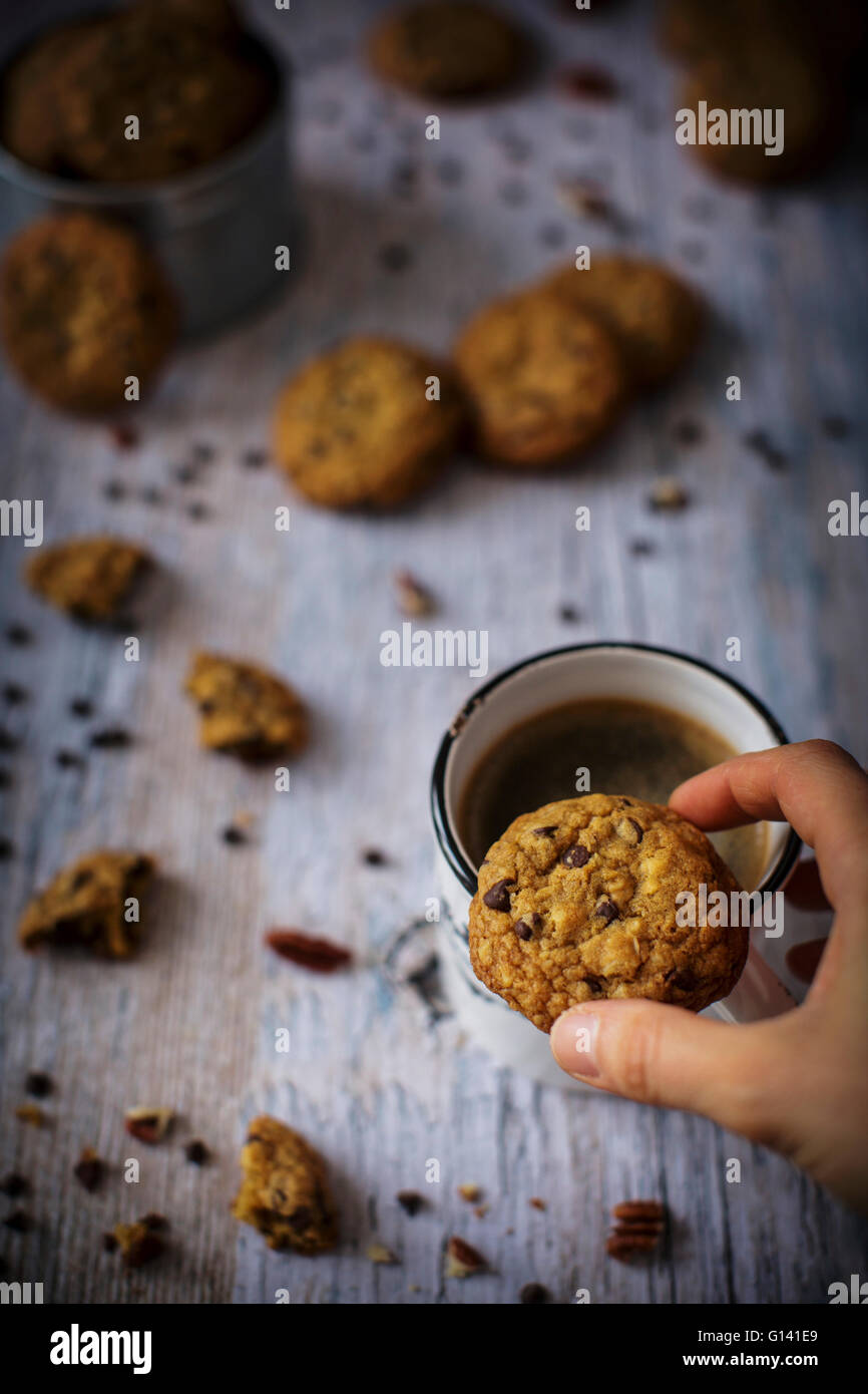Homemade chocolate chip cookies with pecan Stock Photo