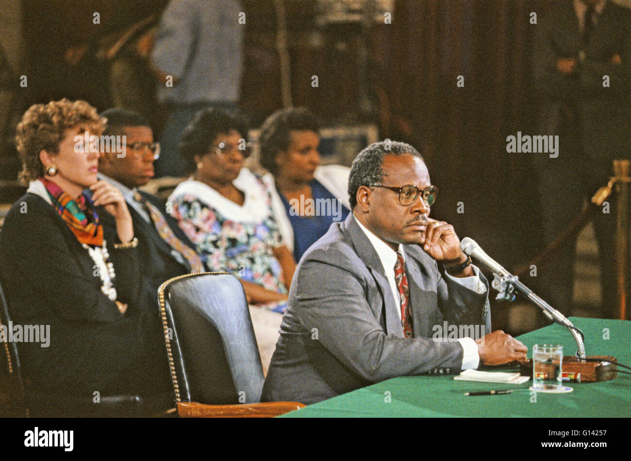 Judge Clarence Thomas testifies during the hearing before the US Senate Judiciary Committee to confirm him as Associate - Stock Image