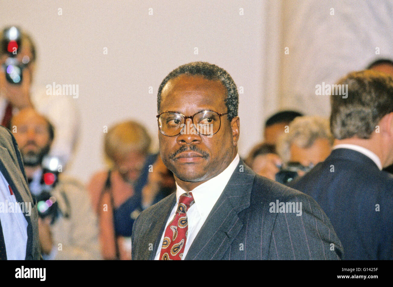 Judge Clarence Thomas appears during the hearing before the US Senate Judiciary Committee to hear the testimony - Stock Image