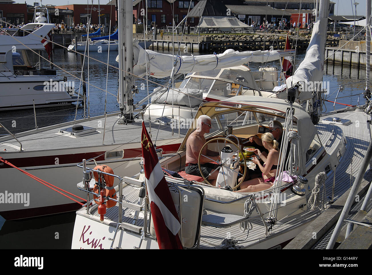Hundested, Denmark. 8th May, 2016. Danes enjoying hot mother day sunday at Hundested habour Credit:  Francis Joseph - Stock Image