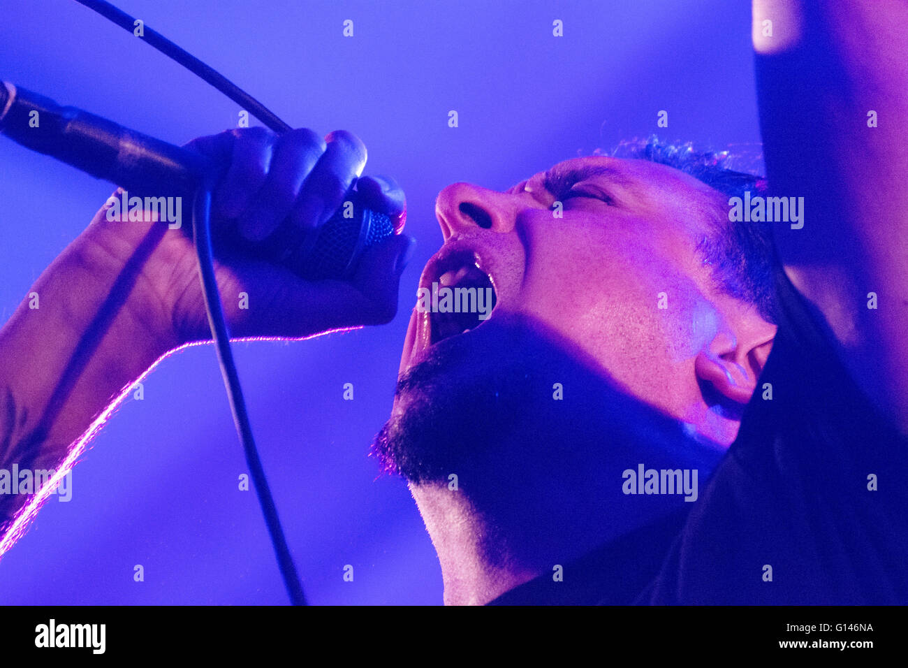 Oviedo, Spain. 7th May, 2016. Vocalist Lou Koller sings during the concert of American hardcore punk band 'Sick - Stock Image