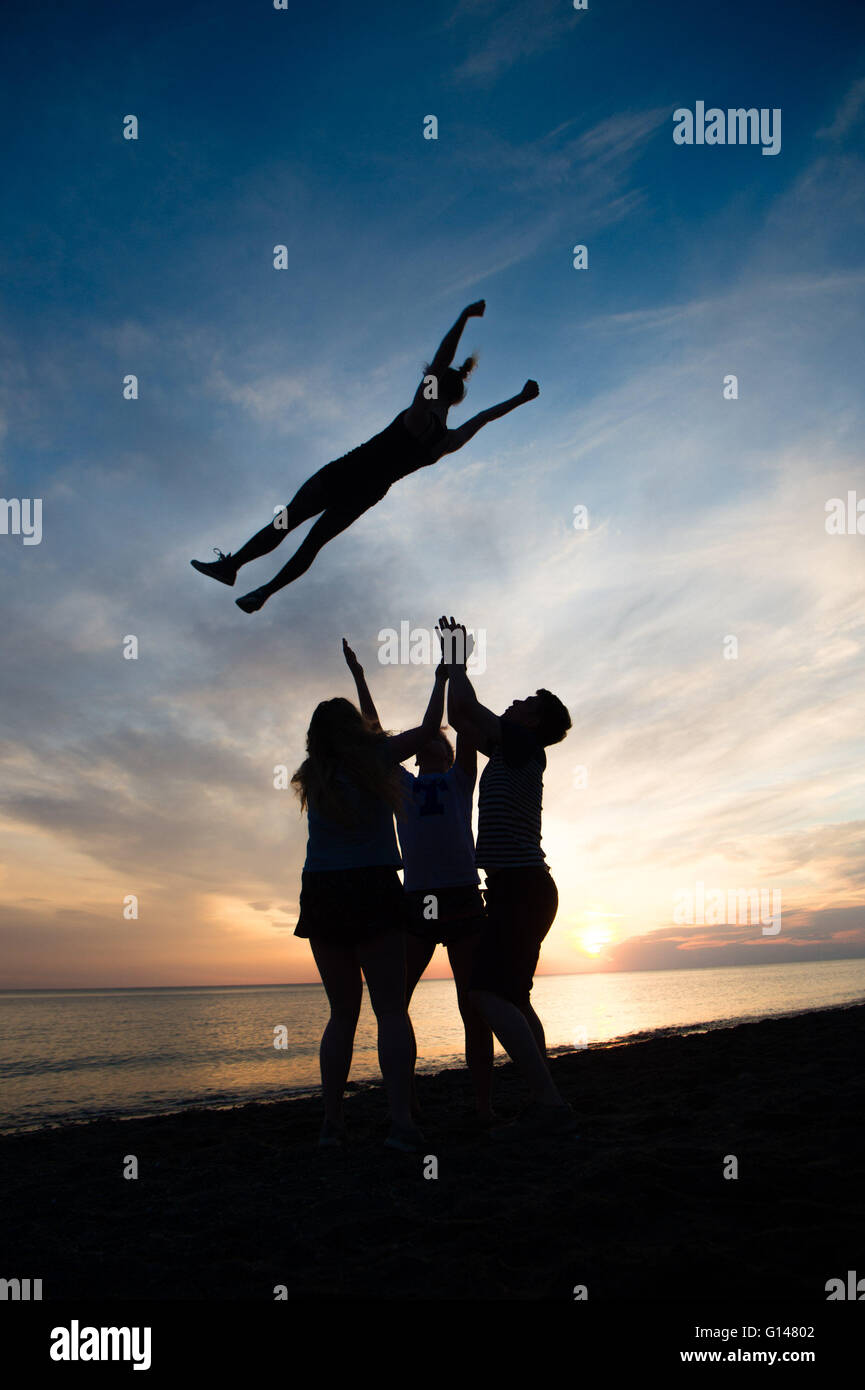 Aberystwyth Wales Uk, Sunday 08 May 2016  UK Weather :   At the end of the warmest day of the year so far, girls - Stock Image