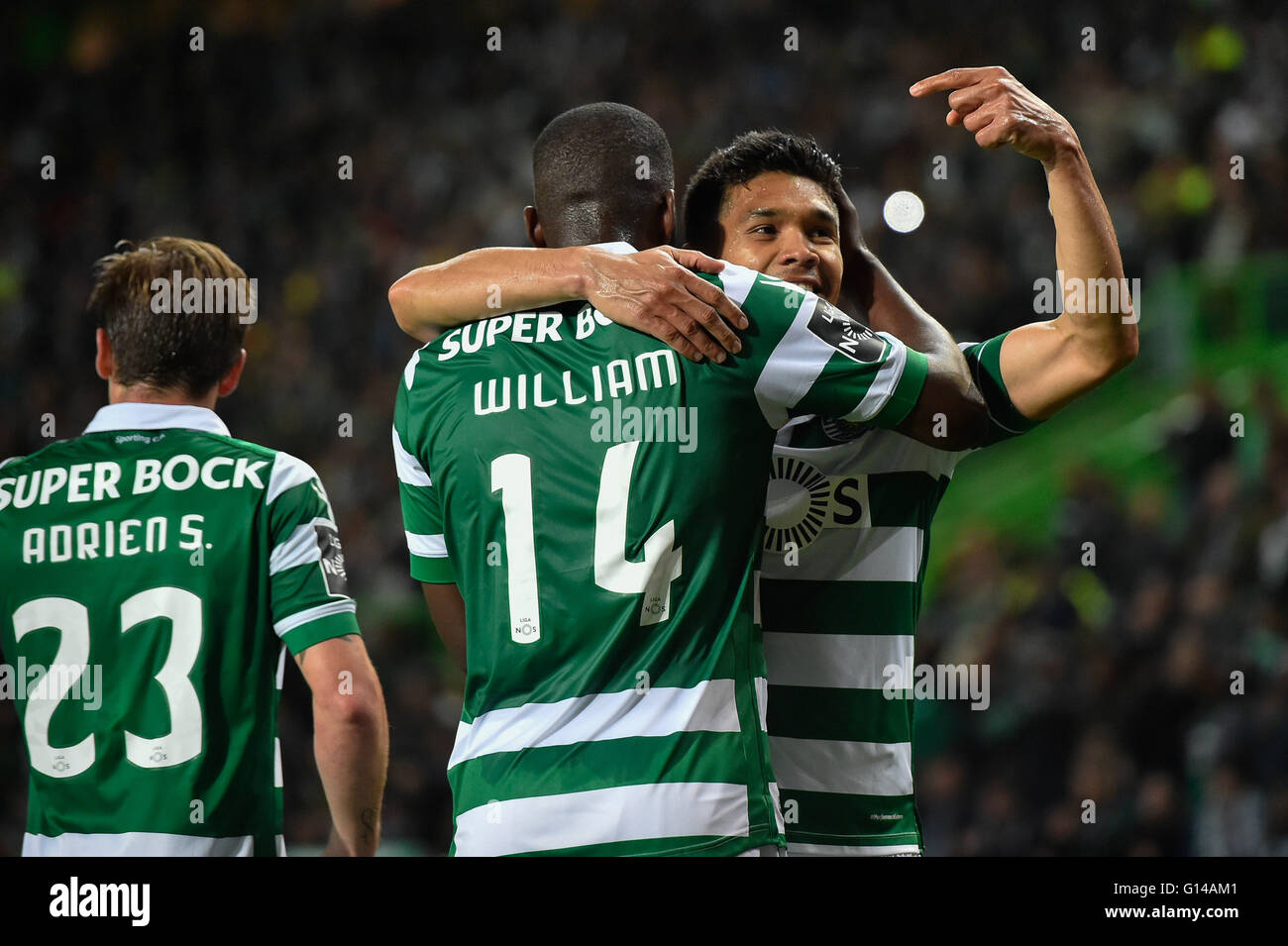 Portugal, Lisbon,May 07,2016 - SPORTING-V.SETÚBAL  - Teo Gutierrez, Sporting player, celebrates his goal, during - Stock Image