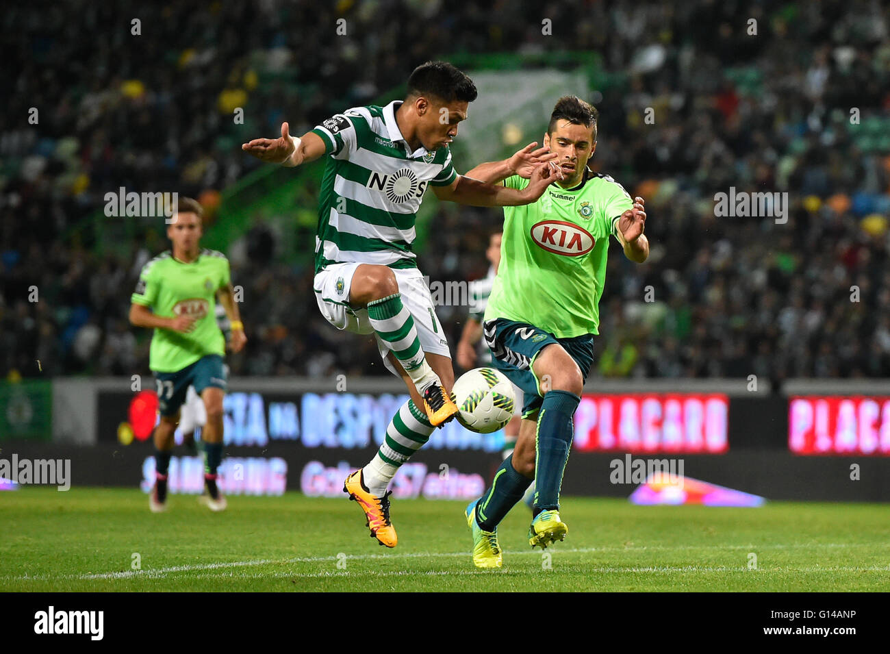 Portugal, Lisbon,May 07,2016 - SPORTING-V.SETÚBAL  - Teo Gutierrez (C), Sporting player, during Portuguese - Stock Image