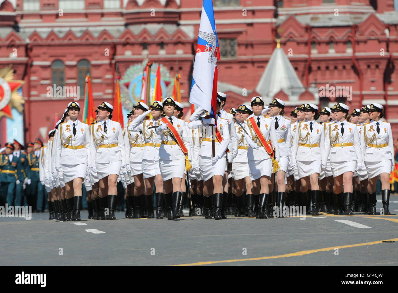 Moscow. 9th May, 2016. Russian servicewomen march during the Victory Day parade in Moscow May 9, 2016. Russia marks - Stock Image