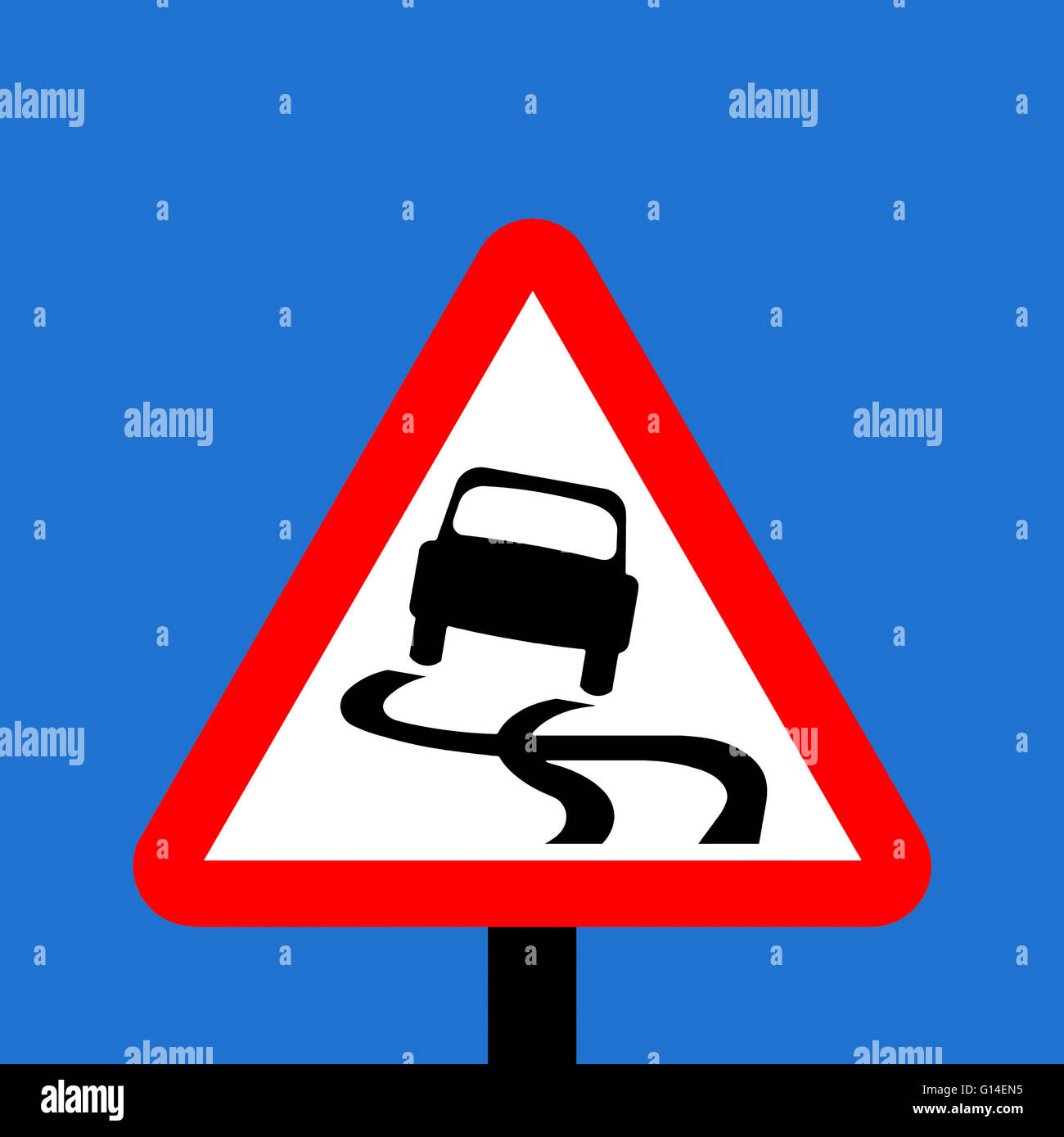 Warning triangle Slippery road traffic sign - Stock Image