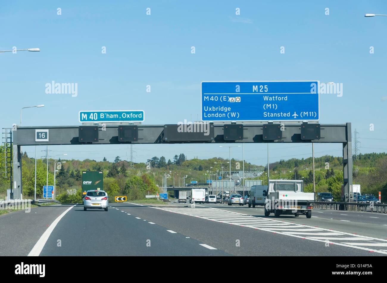 M40 exit on M25 motorway, Surrey, England, United Kingdom - Stock Image