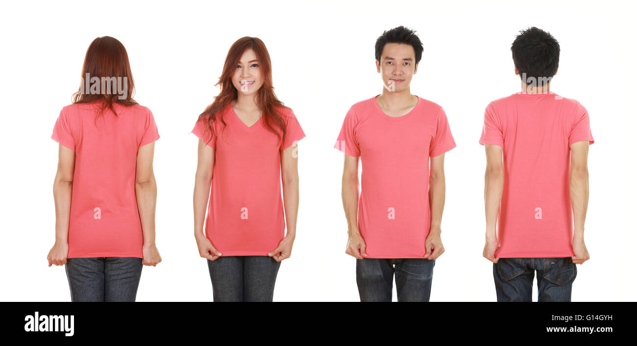 e5492b43 man and woman with blank t-shirt isolated on white background Stock ...
