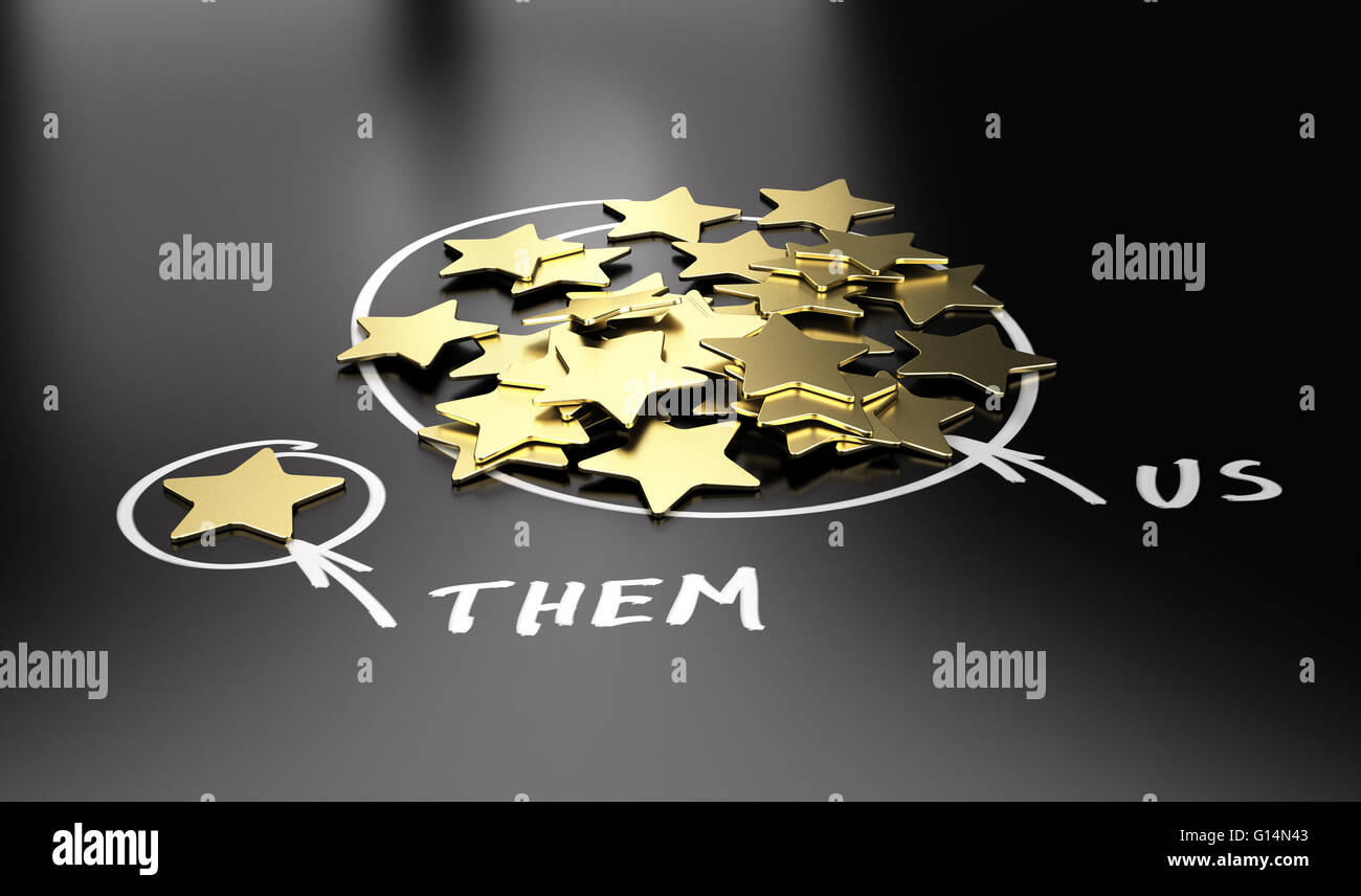 3D illustration of golden stars over black background to be used for comparison between your company and our competitors. - Stock Image