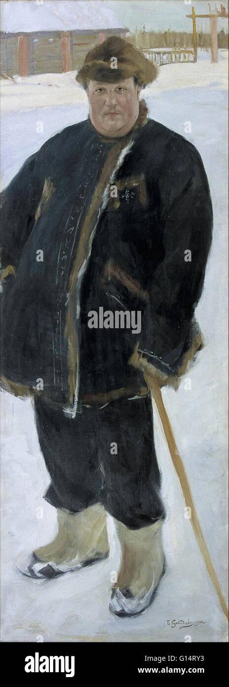 Boris Mikhailovich Kustodiev - Portrait of landowner A P Warfolomev - Malmö Konstmuseum Stock Photo