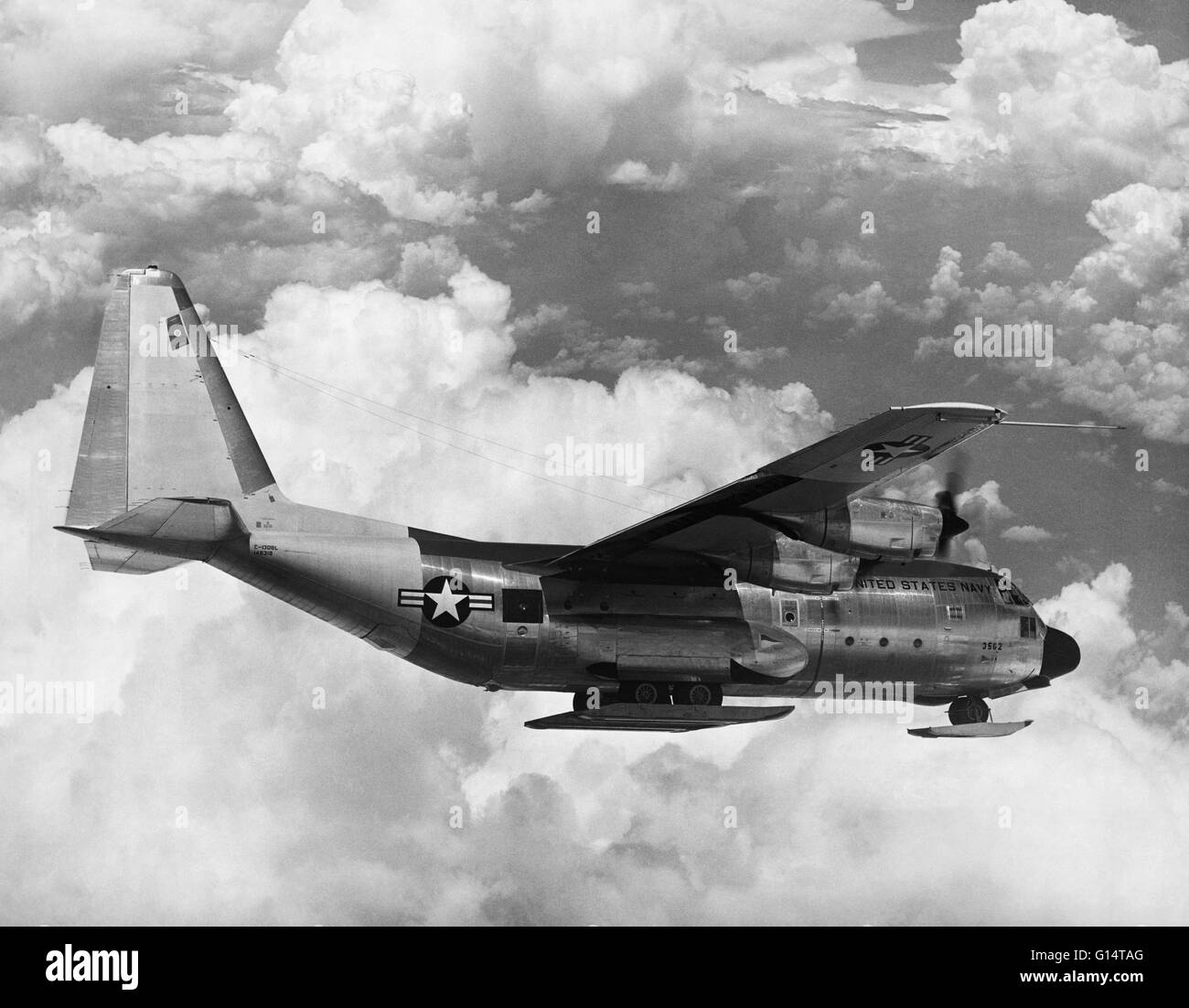 The Lockheed C-130 Hercules is a four-engine turboprop military transport aircraft designed and built originally - Stock Image
