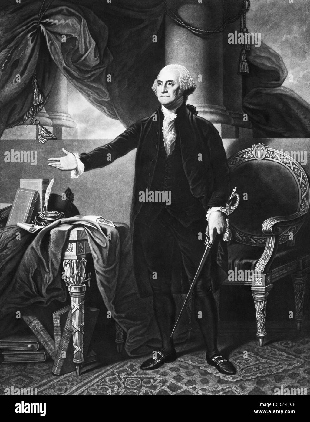 1844 Mezzotint portrait of George Washington, by H.S. Sadd, and based on Gilbert Stuart's Lansdowne Portrait, (1796). Stock Photo