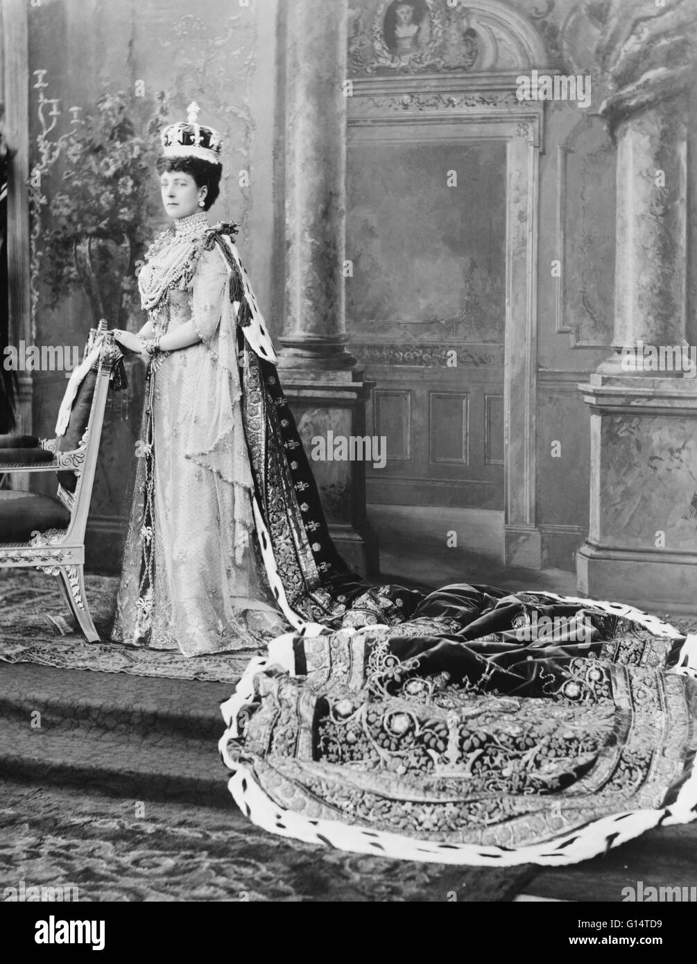 Portrait of Queen Alexandra in her coronation robes; Buckingham Palace, 1902. Alexandra of Denmark (1844-1925) was - Stock Image