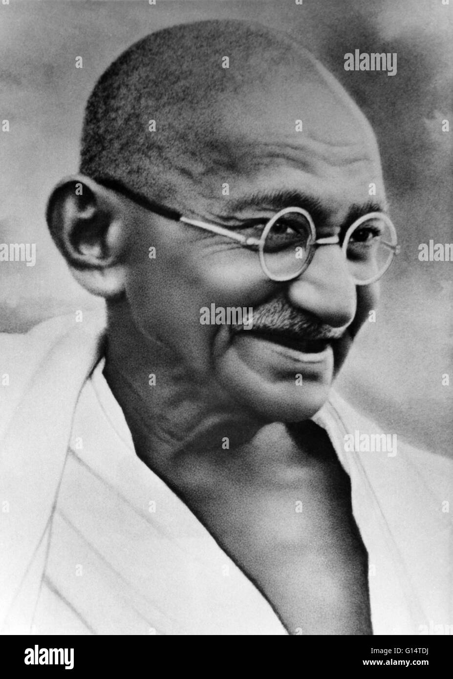 Mohandas Karamchand Gandhi (October 2, 1869 - January 30, 1948) was the pre-eminent political and ideological leader - Stock Image