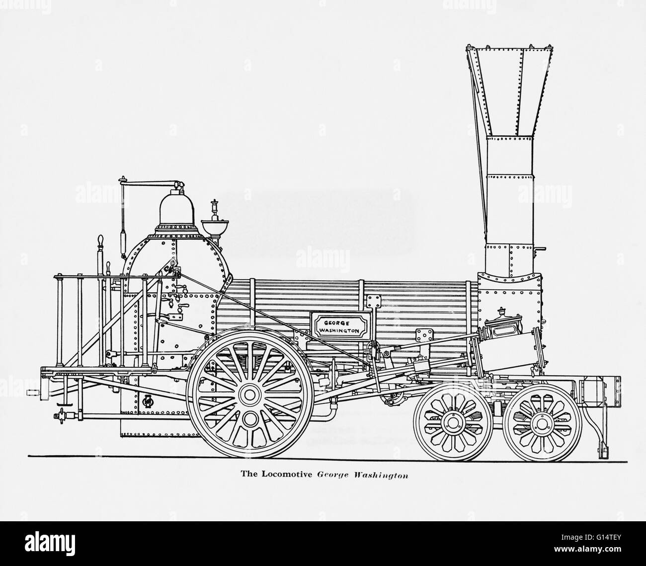 The 'George Washington' was built by William Norris of Philadelphia.  On July 10th, 1836, this locomotive - Stock Image