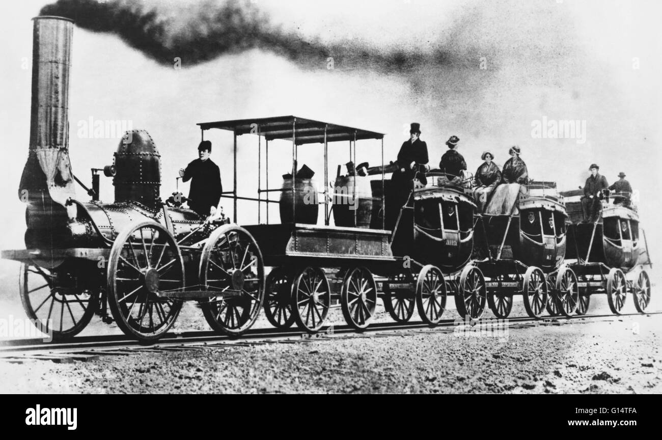 The 'DeWitt Clinton,' the third locomotive built in America, was constructed for the Mowhawk and Hudson - Stock Image
